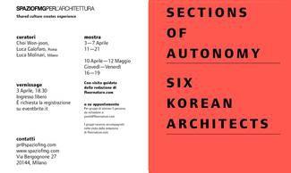 SECTIONS OF AUTONOMY SIX KOREAN ARCHITECTS